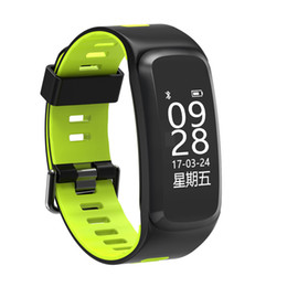 Wholesale Heart Silica - F4 Intelligence Bracelet Blood Pressure Oxygen Heart Rate Monitor Two-tone Silica Gel Watchband Plan Step Motion IP68 Touch Screen Fitness