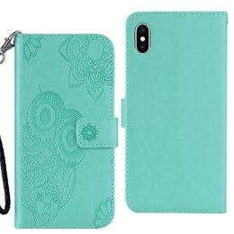 cute owl wallets Promo Codes - For Iphone XR XS MAX Galaxy Note 9 (J4 J6 A6 Plus)2018 Imprint Owl PU Leather Wallet Case Flower Lace Cute Card Slot Flip Covers Pouch Strap