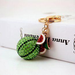 Wholesale Keychain Purse Charm - Rhinestone Metal 3D Fruit Watermelon Keychain - Car Key Ring Chain Holder - Fashion Women Bag Purse Charm Pendant Jewelry