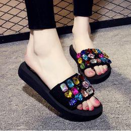 Nice Beach Flip Flops Fashion Solid Women Shoes With Rhinestone Woman  Sandals Summer Platform Flats Size 25-61 K5 466bf539d8b0