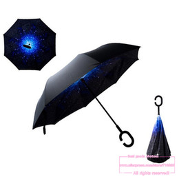 Wholesale Roll Drops - Drop Shipping 2016 Creative High Quality Fashion C Handle Cell Phone sky reverse kazbrella handfree sun umbrella rain women