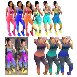 Wholesale summer sportswear women - Women Love Pink Letter Tracksuit Summer Sleeveless T Shirt Tank Top Vest Tights Pants Gradient Color Outfit Sportswear Casual Clothing 2018