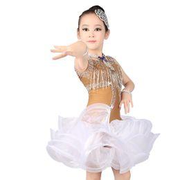Wholesale Kids Dance Latin Skirt - 2018 Girls Kids Latin Skirt Pink White Latin Tango Rumba Club Dance Wear Children Dance Competition Costumes