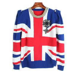 Distintivo britânico on-line-Pista de decolagem Pullover 2017 Camisola de Inverno Mulheres Bandeira Britânica Jacquard Jersey Casual Emblema Malha Jumper Tops Jumper Mulheres