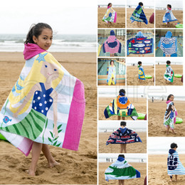 Wholesale children hooded bath towel - Kids Cotton Mermaid Shark Pattern Beach Towel With Hats Baby Children Hooded Boys Girls Cartoon Bath Soft Towel Robes 14 Styles AAA593