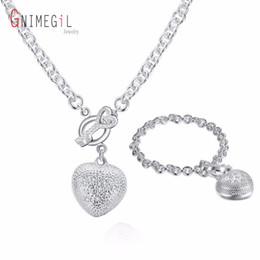 Wholesale Hot Stamp Plate - whole saleS025 Stamped 925 Hot Selling Silver Color Jewelry Set, Fashion Jewelry Set Inlaid Heart Key To  aimaizta aueajlla Wholesale