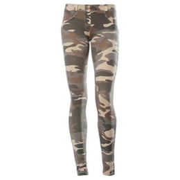 trousers military women Coupons - Europe Russia Women Tide Fashion Green Camouflage Jogger Pants Brave Lady Military slim casual Jeans Cotton Camo Print Trousers