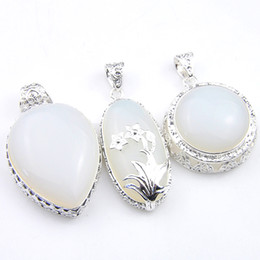 Wholesale 925 silver necklace moonstone - Mix Style 3PCS Lot Classic Fire Moonstone Opal Gemstone Antique 925 Silver Pendants for Necklace Party Holiday Gifts