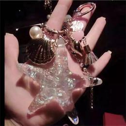 Wholesale Starfish Cartoon - Cartoon Starfish Car Keychains Creative Sea World Pearl Shell Keyring Crystal Tassels Key Buckle Pendant Keychain 4 4ty Y