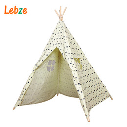 Wholesale Baby Play Tents - Tent For Kids Cotton Canvas Indian Teepee Star Pattern Play Tent For Kids Children's Playhouse Baby Room Tipi Toys