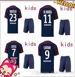 Wholesale Paris Kids - top thai quality kids kits 2017 2018 Paris soccer jersey home away 17 18 NEYMAR JR CAVANI VERRATTI LUCAS PASTORE MATUIDI KIDS football shirt