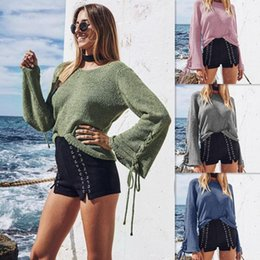 Wholesale Wholesale Jumper Knit - Sleeve Bandage Sweater Knitted Pullover Women Vintage Winter Loose Knit Sweater Bandage Long Sleeve Blouse Jumpers OOA3964