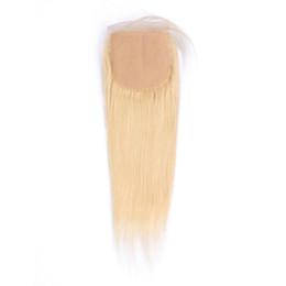 2019 seidenbasisverschluss chinesische jungfrau Jungfrau-Menschenhaar-Verschluss-Silk Top 4 * 4inch # 613 Blonde Farbe Peruanisches glattes Haar Seide Basis Schließung LaurieJ Haar