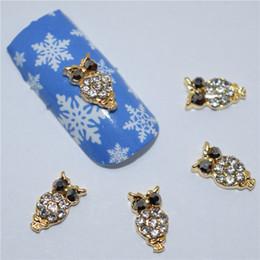 Совиное искусство ногтей онлайн-10pcs 3d nail jewelry decoration nails art glier rhinestone for manicure Golden Owl design nail accessories tools #294