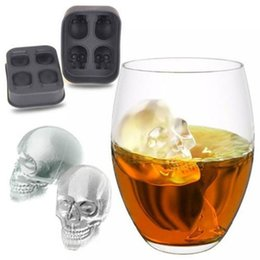 Wholesale silicone mold chocolate fondant mould - 3D Skull Ice Cube Mold 12*8.5*5cm Silicone Fondant Cake Chocolate Tool Candy Pastry Mould Halloween Gifts