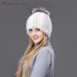 Wholesale Mink Fur Hats Women - Purple Sandbar Fur Fashion Cheap Warm Winter Mink Women Hat With Fox Pompom knitted fur beanie For Female