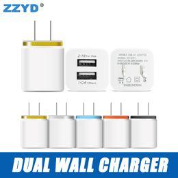 Wholesale Dual Usb Wall Charger Iphone - US EU Dual USB Wall Charger Travel Adapter 5 V 2.1 A For iPhone 6 7 8 X Samsung 8  8S iPad