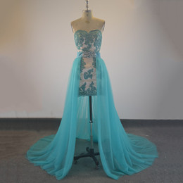 Wholesale Cocktails Dresses Sweetheart Neckline - Sexy Sweetheart Neckline Short Prom Dresses With Detachable Train Short Prom Gowns Lace Appliques Real Formal Cocktail Dresses Custom Made