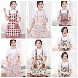 restaurant clothing Coupons - Aprons Chef Floral Kitchen Women Apron with Pocket Cooking Ruffle Restaurant Princess Apron Polyester Kindergarten Clothes Free Shipping