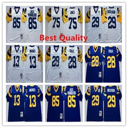 Wholesale Blue Marshall - NCAA Throwback Jack Youngblood Jerseys American football mens Retro kurt warner marshall faulk eric dickerson deacon jones usa college shirt