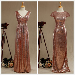 Wholesale Bridesmaids Dresses Different Styles - Under70 Rose Gold Sequined Two Different Style Long Bridesmaid Dresses Cheap Long Sexy V-neck Pleated Backless Formal Dress Party Vestido De
