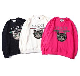 Lentejuelas bordadas online-Estación europea bordado lentejuelas gato cabeza suéter hombres y mujeres con el mismo párrafo hood suelta marca de marea de algodón de gran tamaño impreso