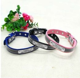 Wholesale Personalized Nameplates - Reflective Personalized Dog Collar Leather Dog Cat ID Collar Custom Engraved Puppy Nameplate Collars For Small Pets Cats XS-M