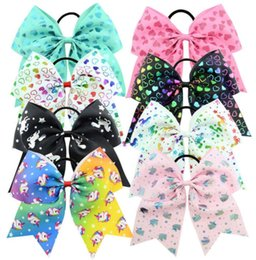 girls sequin ties Coupons - 8 Inch Hair Bows Sequin Unicorn cheer Bows Hair tie With Elastic For Girls ponytail holder Hair Accessories free shipping