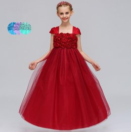 Wholesale Cotton Silk Vest Dress - Flower Girl Dresses Red Blue Purple Long Rose for Wedding Birthday Girl Kids Evening Prom Dresses Floor Length Pageant Gowns 2018