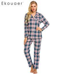 2491098e3d Ekouaer Women Sleepwear Long Sleeve Plaid Pajamas Set with Pj Long Pant  Nightwear