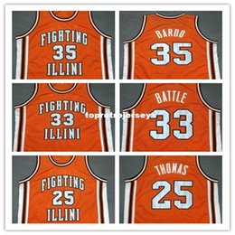 Laranja barata camiseta on-line-Barato # 35 STEPHEN BARDO 25 DEON THOMAS # 33 KENNY BATALHA Luta Illinois College Laranja Retro colete T-shirt Bordado Basketball Jersey