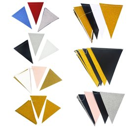 style wedding glitter Promo Codes - 3 meters Pennant garland white gold sewing style Banner Glitter Paper Pennant Bunting Garland, Extra Sparkle for Wedding Party