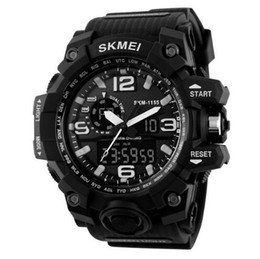 Wholesale Wholesale Watches Skmei - SKMEI Big Dial Men Digital Watch Military Clock Sports Watches Water Resistant Calendar LED Dual Display Wristwatches 1155