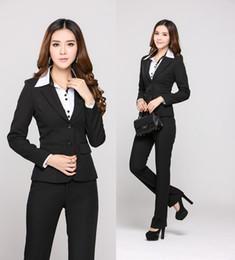 2019 esteticistas uniformes Nuevos Trajes de mujeres de negocios profesionales Pantalones y tops Trajes de trabajo de oficina 2015 Otoño Estéticos de esteticista Blazers Plus Size esteticistas uniformes baratos