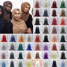 Wholesale Wholesale Islamic Dresses - MEETEE Women Muslim Oversize Cotton Wraps Soft Long Lace Head Wraps Dress Decoration Scrapbooking Islamic scarf Lace Fabric FZ050
