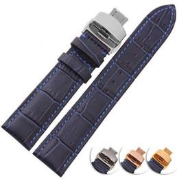 correa de reloj de 14mm Rebajas Correa de reloj de cuero genuino de gran calidad de grano de bambú azul oscuro 12 mm / 14 mm / 16 mm / 18 mm / 20 mm / 22 mm correa de reloj de cuero genuino