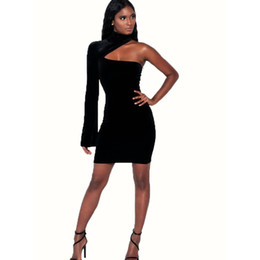 Womens Sexy Club cuello alto de un hombro vestidos de vaina delgados para mujer más el tamaño negro de moda de manga completa mini vestido desde fabricantes