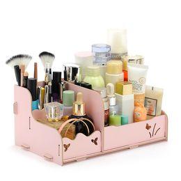 organizadores de escritorio de madera Rebajas Caja de almacenamiento de escritorio de madera Caja de almacenamiento de joyería Organizador de maquillaje Estuche de bricolaje Organizadores cosméticos Estuches de madera Oficina Papelería