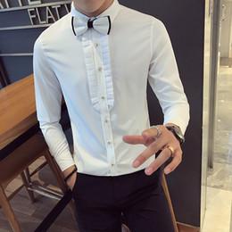 lungamente abito da sera bianco di nozze Sconti Shirt Camisa sociale Masculina 5XL Wedding Dress Mens cotone a maniche lunghe Slim Fit White Night Club camice Mens partito Borgogna