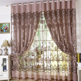 63 inch curtain grommet Promo Codes - Luxury Embroidered Tulle Blackout curtain for Living Room Bedroom Floral Printed Modern style Drapes Tulle with Beads Treatment