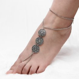 Wholesale ethnic anklets - Retro Coin Anklet Ethnic Style Ankle Bracelets Chain Foot Stainless Steel Jewelry Party Decorations Mothers Day Gift