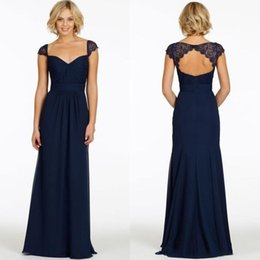 Wholesale Vintage Bridesmaids Gowns - 2017 Charming Dark Navy Bridesmaid Dresses Chiffon Sweetheart Cap Sleeve Backless Vintage Cheap Evening Dress Long Party Prom Gown Plus Size