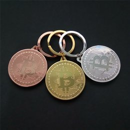 Wholesale Art Promotion - New Silver Gold Bitcoin Keychain BTC Coin Art Collection holder Coin Key Chain Rings Souvenir Coin Drop SHipping