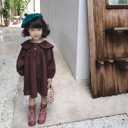 conejito camisa niños Rebajas 2018 Otoño Baby Girls Plaid Shirt Dress Niños Manga Larga Bunny Oído Turn-down Collar Princesa Vestido de Niños Ropa 4110