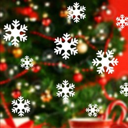Wholesale Christmas Home Window Stickers - White Snowflakes Wall Sticker Decal Home Make for Glasses Window Christmas Decoration Christmas New Year