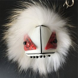 2019 portachiavi in pelliccia bianca Bianco Real Fox Fur Monster w Punk Stud Rivet Face Pompon Keychain Bag Bug Charm