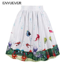 ca351de458a Enyuever Cute Shirt Plus Size Casual Skirts Fish Print Summer Pleated 50s  Vintage Retro Skater Holiday Party Midi Skirt Pockets