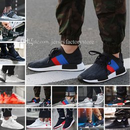 Wholesale Hot Spring Shoes Men - Hot NMD R1 R2 Tri-Color boost Runner Primeknit PK Japan Pack Triple Black Red white blue GREY Men Women boost Running sport Sneakers Shoes