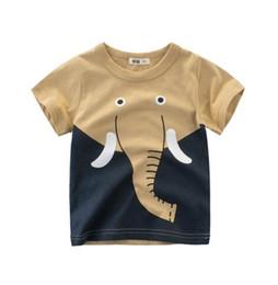 Wholesale Animal Dinosaurs - NEW High qualtiy T shirt Boys Kids 100%Cotton Short Sleeve Cartoon Dinosaur Fish Lion Letters T shirt boys summer t shirt kids clothing