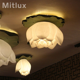 Wholesale Lotus Led Chandelier - chinese style led ceilling lamp light sitting room the bedroom art chandeliers Lotus LED droplight